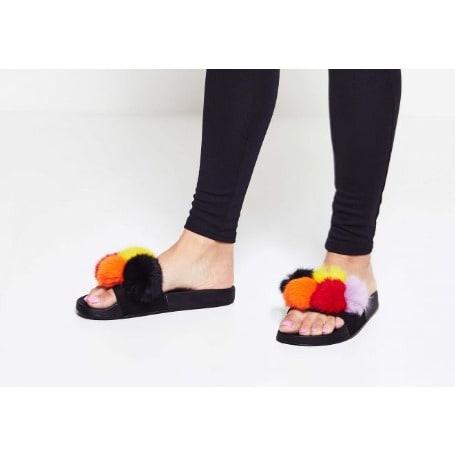 arrives good selling so cheap Women's Fur Slides - Black