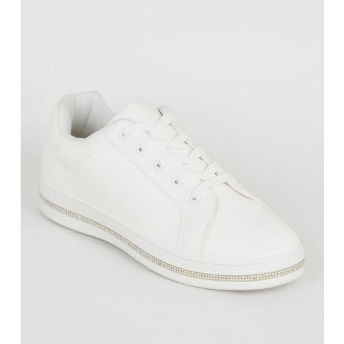 new look white trainers