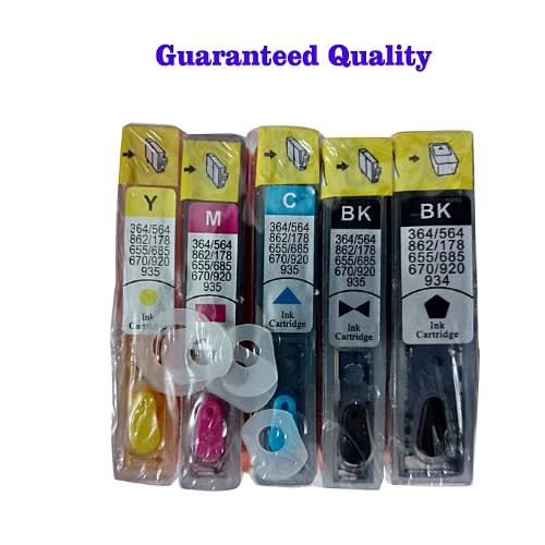 Refillable Compatible Ink Cartridge For HP 364 - 5 In 1 Set ( 2 Black, 1 Yellow, 1 Magenta
