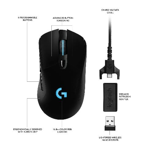 400341cac8f Logitech. G703 Lightspeed Gaming Mouse With Powerplay Wireless Charging  Compatibility