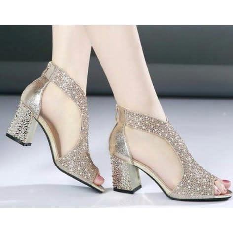 aba0696f392c SS Women s Gold Stone Wedding Shoe