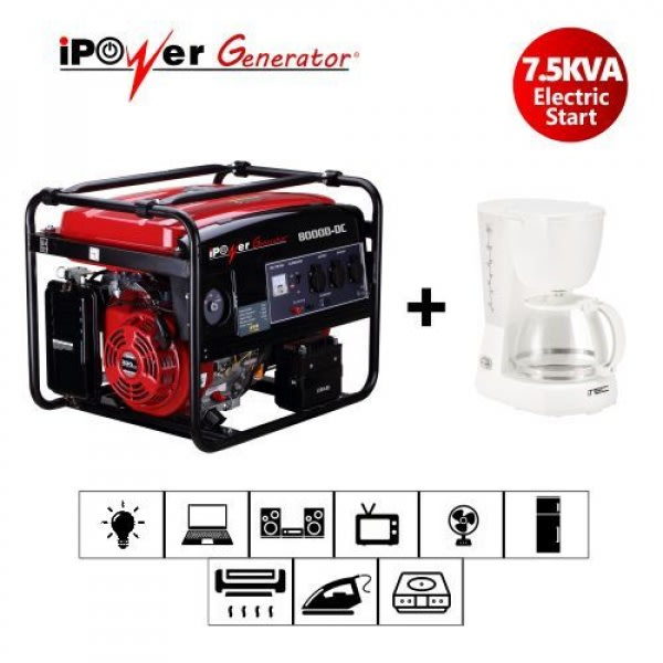 Ipower 8000d-dc 7.5kva/6kw Key Start Generator + FREE iTec Coffee maker.