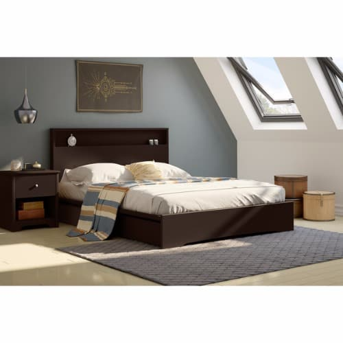 Basic Queen Platform Bed With 2 Drawers Chocolate