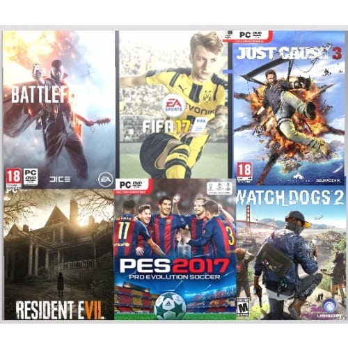 Battlefied 1 + FIFA 17 + Just Cause 3 + Resident Evil + PES 17 + Watch Dogs  2 Game Collection