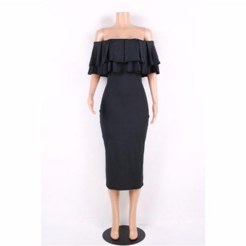 b434bc2627c4 Triple T Black Layered Ruffle Off Shoulder Midi Dress