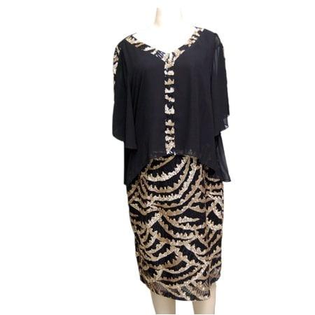 243170f9fe Turkish Wear Black and Gold Sequins Ceremonial Midi Dress   Konga ...