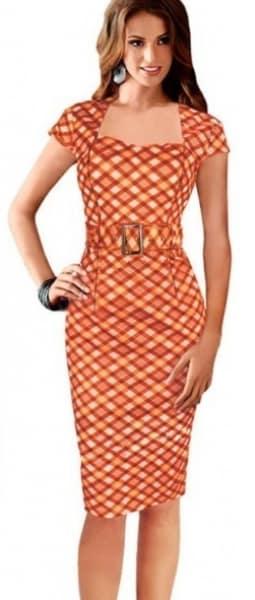/B/o/Bodycon-Square-Collar-Plaid-Dress-Short-Sleeve-With-Belt---Orange-7778580.png