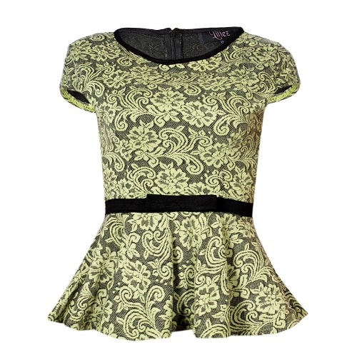 7197aa3cbef55d Liliez Bowed Waist Lace Embellished Cap Sleeved Peplum Top- Green ...