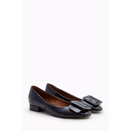 Buckle Square Toe Shoes - Navy