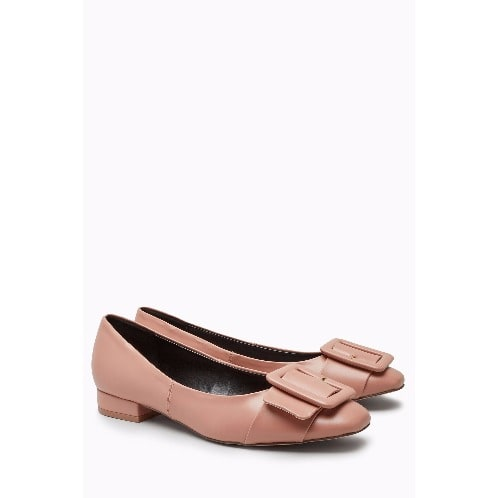 Buckle Square Toe Shoes - Pink