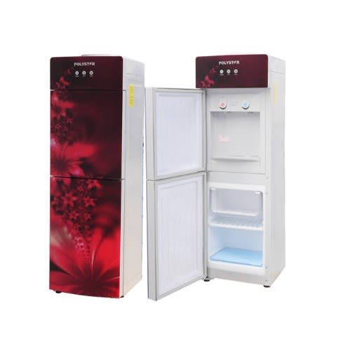 Water Dispenser, Glass Panel With Fridge & Freezer - Pv-r6jx-5r - Red