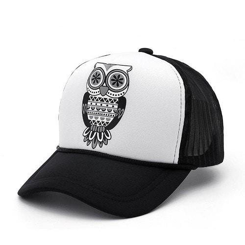 1452b0e6 Arex Tshirts & Co Men's Trucker Owl Face Cap -white And Black ...