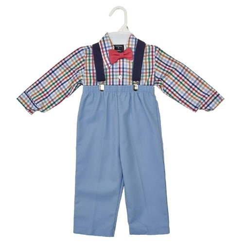9f1ff855 Baby Boys Plaid Box Shirt With Pant Trouser, Suspender And Bow Tie ...