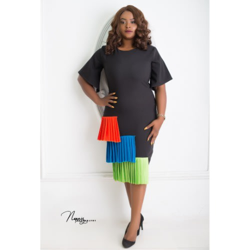 Muna Plus Size Dress - Orange, Blue, Green