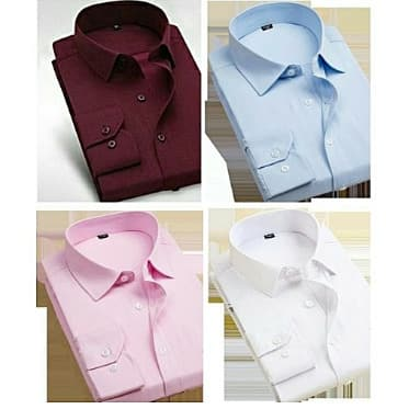 Men's Shirts | 4 In 1 - Wine, Sky Blue, Pink And White