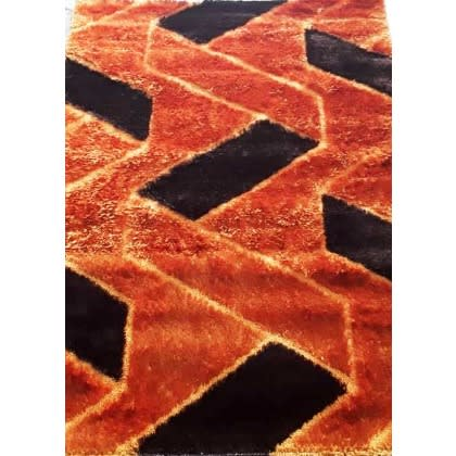 Orange & Brown Design Shaggy Rug - 4x6ft
