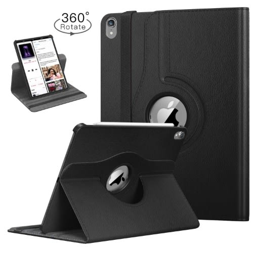 "360 Degree Flip Leather Case For iPad Pro 12.9"" 2018 - Black"