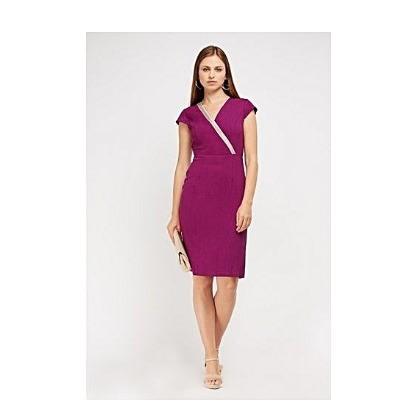 Contrast Trim Wrap Midi Dress