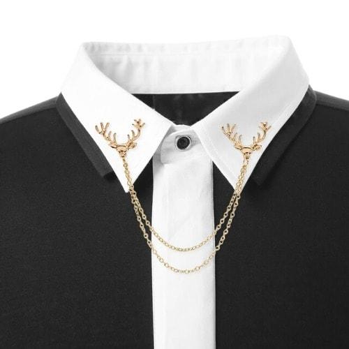 Shirt Collar Brooch Pin Men\u0027s Deer Suit Lapel With Chain , Gold