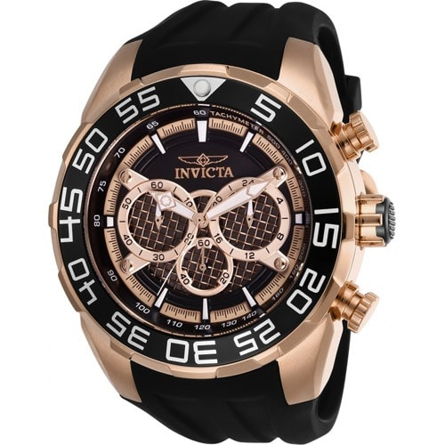 26304 Men's Speedway Quartz Multifunction Rose Gold, Black Dial Large Watch
