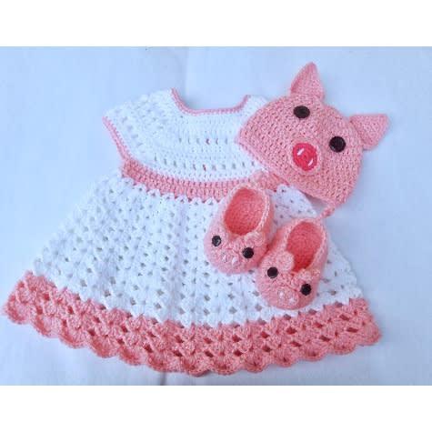 Handcrafted Piggy Inspired Crochet Baby Girl Dress Set Konga