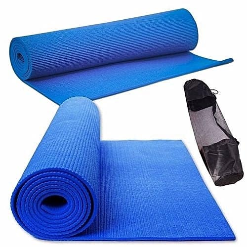 Blue Yoga Mat With Carrying Bag.