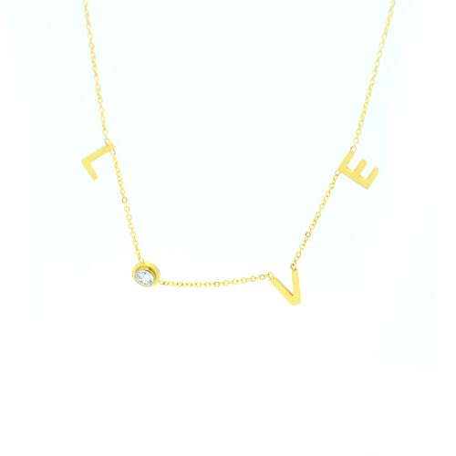 0bad5c0956cab Love Letters Crystal Charm Gold And Crystal Necklace