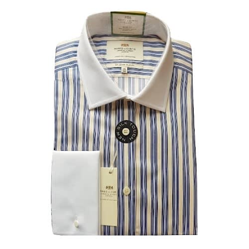 33a1d842bd Hawes & Curtis Men's Navy & Yellow Stripe Slim Fit Shirt - Double ...