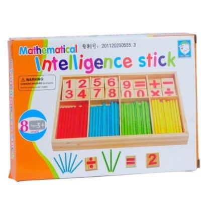 Intelligence Kids Toys Wooden Digit Mathematical Sticks.
