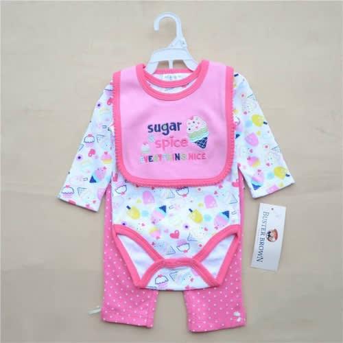 153018c9565 3pcs Baby Girl Romper