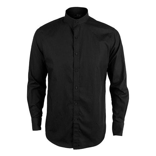 2b442994 David Wej Mandarin Collar Plain Formal Long Sleeve Shirt- Black ...