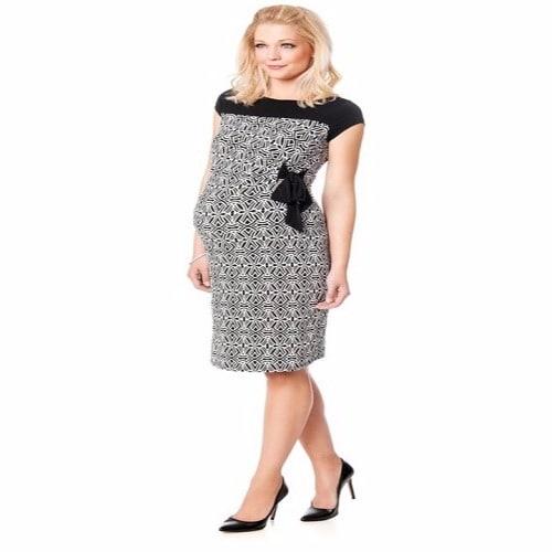 a0be07864193c Motherhood Maternity Cap Sleeve Tie Detail Dress - Black & White ...