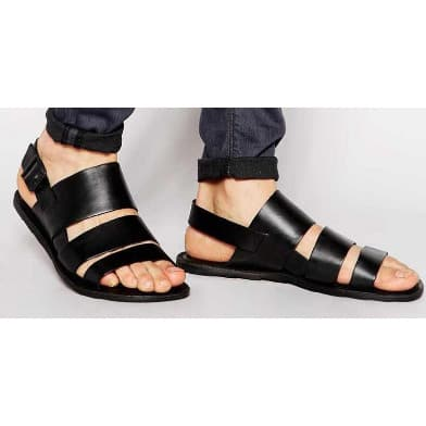 2b21913fac0 Classic Men s Triple Strap Simple Italian Leather Sandal -Black ...