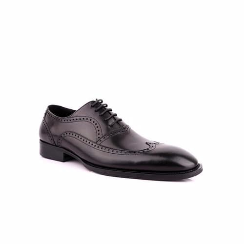 Classic Perforated Calf Leather Brogues - Black