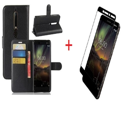 separation shoes 7f44a 6b47e Leather Flip Case & 3D Full Screen Protector For Nokia 6 2018 - Black
