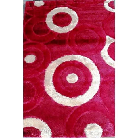 Silky Circle Shaggy Rug - 4x6ft - Red & Cream