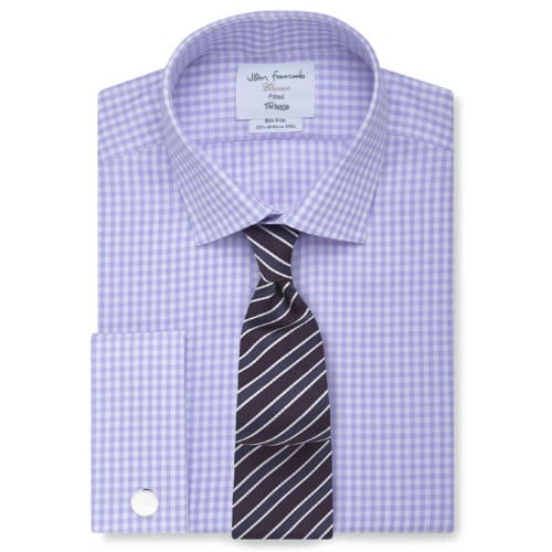 T.M.Lewin Mens Non-Iron Blue Bengal Stripe Regular Fit Shirt
