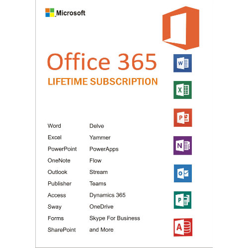 Office 365 Lifetime Account Subscription - 5 Devices - 5TB Onedrive