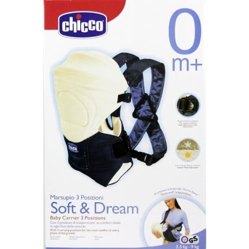 Chicco Soft Dream Baby Carrier Infant Backpack Sling Beige Blue Jean