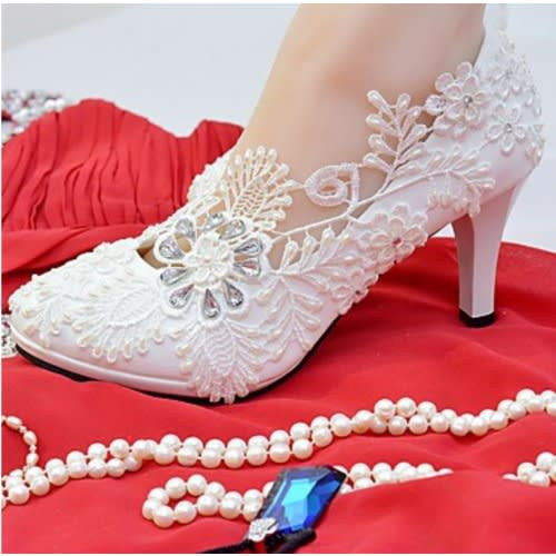 Women's Beaded Lace Wedding Shoes - White