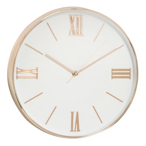 Wall Clock - Copper & White Finish