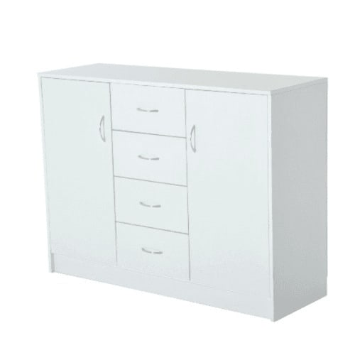 Storage Cabinet 2 Doors And 4 Drawers, White Storage Cabinet With Drawers