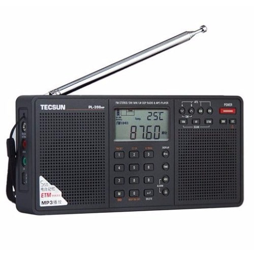 Digital AM/FM/LW Shortwave Radio with Dual Speakers & MP3 Player - Black
