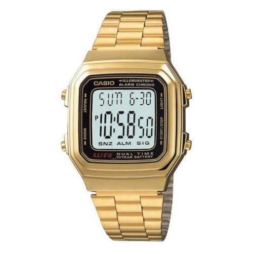 7177d217dd0e Casio Digital Water Resistant Gold Tone Stainless Steel Watch ...