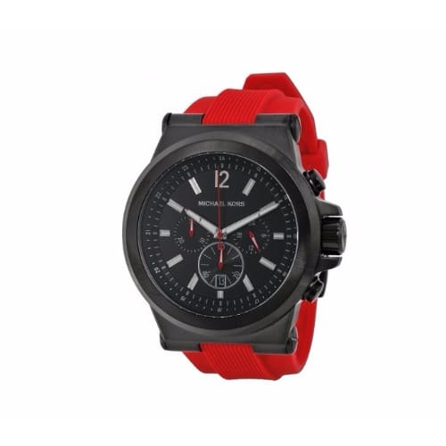 8d35ce367ac7 Michael Kors Dylan Chronograph Black Dial Red Silicone Men s Rubber ...