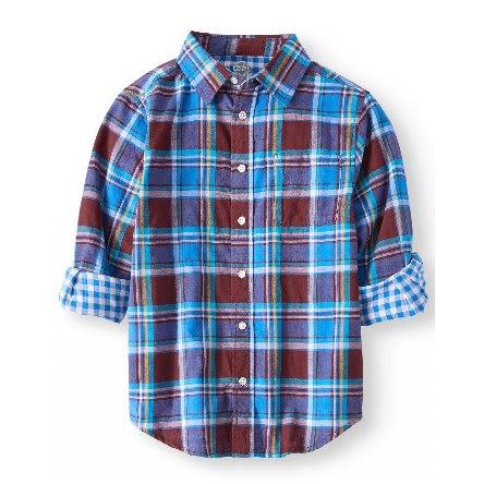 Boys' Long Sleeve Plaid Turn Up Shirt