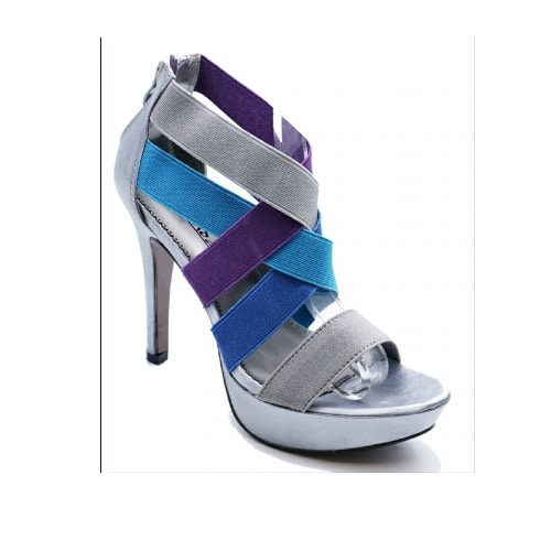 6a5bc82a022 Ladies Grey Strappy High Heel Sandals - Multicolour