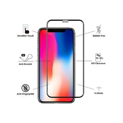 Protective Tempered Glass Screen Guard For iPhone X - Black & White