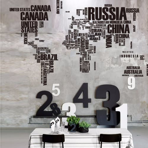 Large World Map Wall Stickers Original Creative Letters Map Wall Art  Bedroom Home Decor
