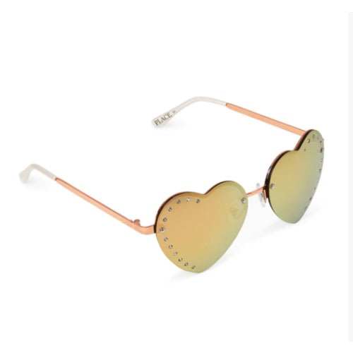 d127c47d5 The Childrens Place. Girls Faceted Metal Heart Sunglasses- Rose Gold ...